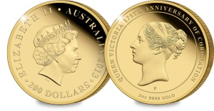 m061 aus 2013 queen vic 2oz au - Gold coin commemorating 175th Anniversary of Queen Victoria's Coronation released