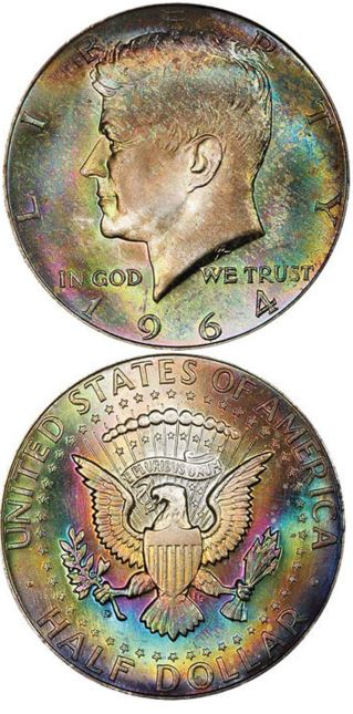 """kennedy half dollar - This """"funkadelic"""" coin just sold for $22,325"""