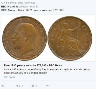 1933 penny1 - Rare British Penny sells for world record price