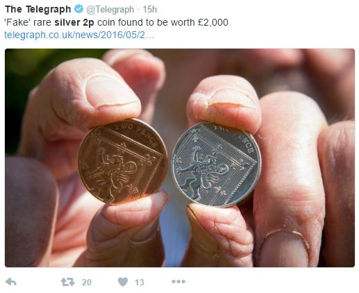 silver 2p - Coin handed to the bank for destruction is potentially worth £2,000