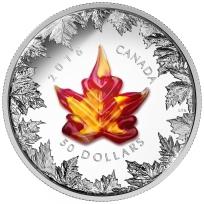 2016 $50 Fine Silver Coin - Murano Maple Leaf - Autumn Radiance Reverse